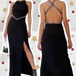 90s BLACK RHINESTONE MAXI DRESS 🦇